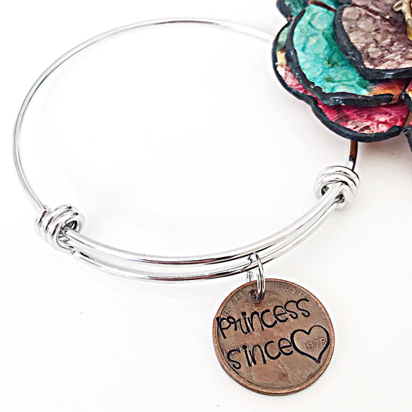 Custom Hand Stamped Penny Charm Bracelet - Princess Since Mommy Since Grandma Since - Lasting Impressions CT