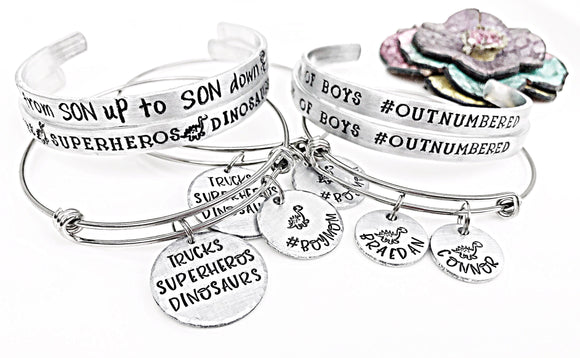 Mom of Boys Jewelry, Boy Mom Bracelet, Boymom Cuff, Boymom Bangle, Mom of Boys Bracelet