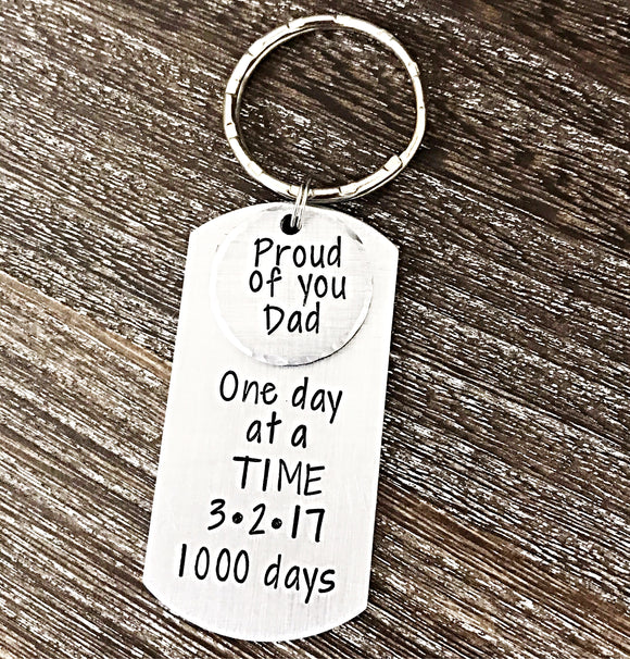 1000 Days Sober Sobriety Keychain Anniversary for Dad or Loved One - Lasting Impressions CT