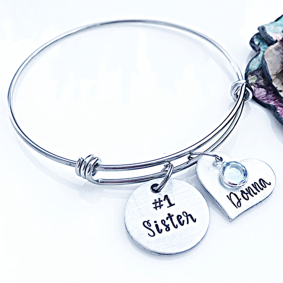 Hand Stamped Personalized Sister Bracelet, Birthday Gift for Sister, Sister Jewelry - Lasting Impressions CT