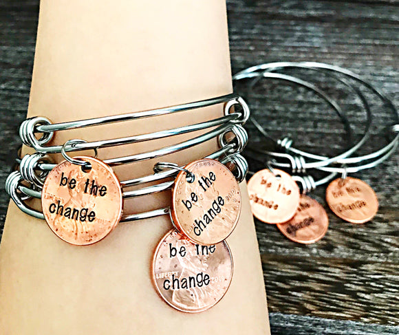 Be The Change Custom Hand Stamped Penny Charm Bracelet - Graduation 2019 Penny Gifts - Class of 2019 - Lasting Impressions CT