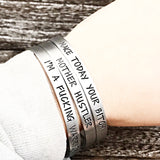 Empowerment Mantra Cuff Bracelet in Silver for Women - One Size Fits Most - Adjustable - Lasting Impressions CT