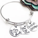 Baby Birth Stats New Mom Mother's Day Bracelet Gifts for Wife Personalized Baby Name - Lasting Impressions CT