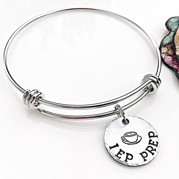 IEP Prep Hand Stamped Bangle, Special Needs Mom Bracelet - Lasting Impressions CT