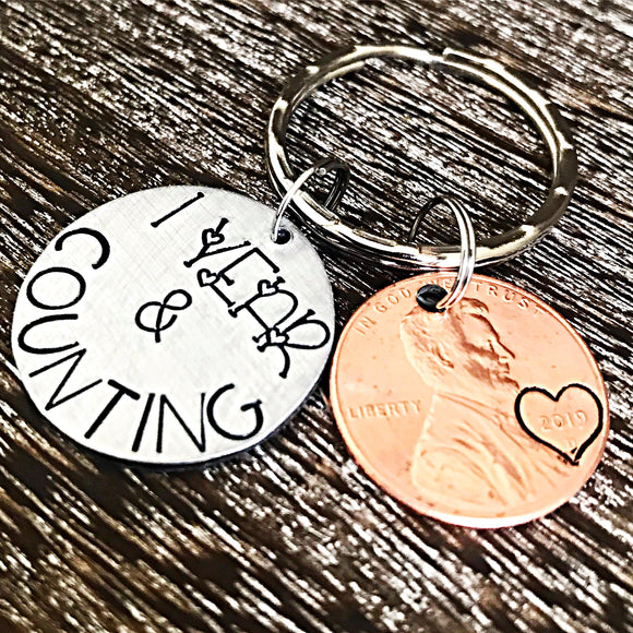 Remission Keychain - Memorable Date - Penny Keychain, 1 Year & Counting - Lasting Impressions CT