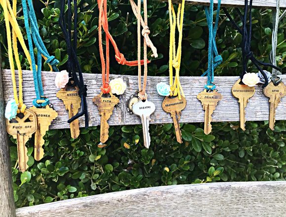 Vintage One of a Kind Hand Stamped Key Necklaces on Suede Cord