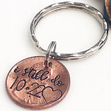 7 Year Wedding Anniversary Present for Husband or Wife - Copper Anniversary Gift- Penny Keychain - Lasting Impressions CT