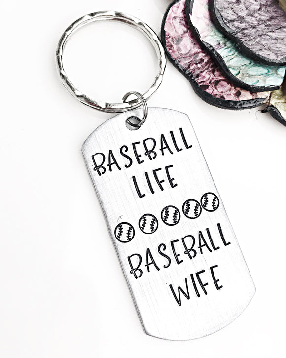 Baseball Keychain, Baseball Wife, Baseball Life, Baseball Gifts, Softball, Wife Gifts - Lasting Impressions CT