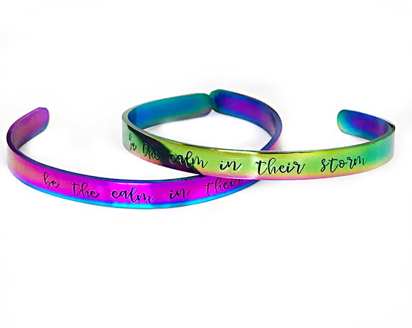 Rainbow Hand Stamped Personalized Stainless Steel Cuff Bracelet-Also available in Silver, Gold, and Rose Gold