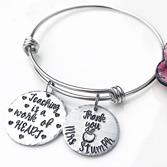 Teacher Bracelet, Gifts for Teachers, End of School Year, Teacher Appreciation, Charm Bangle Bracelet, Personalized