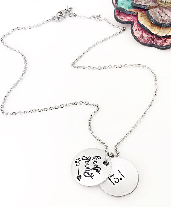 Keep Going Necklace, Secret Message Necklace, Locket Necklace, 13.1 Half Marathon, Running Gifts, Marathon Runner Necklace for Women - Lasting Impressions CT