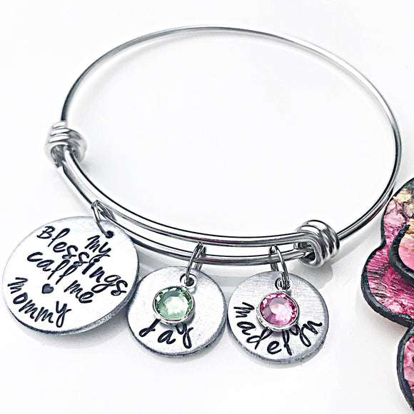 Mommy Blessings Bracelet - Mother's Bracelet - Custom - Personalized - Hand Stamped Name Charms