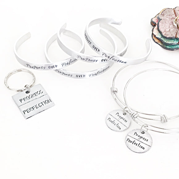 Progress Over Perfection Hand Stamped Personalized Custom Jewelry For Graduation - Lasting Impressions CT