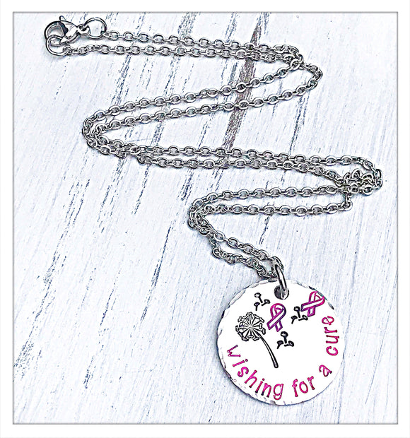 Wishing for a Cure Pink Ribbon Breast Cancer Awareness Necklace
