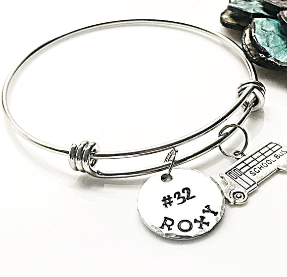 Bus Driver Gifts, Bus Driver Bracelet, Handstamped Bus Driver Bangle, Bus Charm Bracelet - Lasting Impressions CT