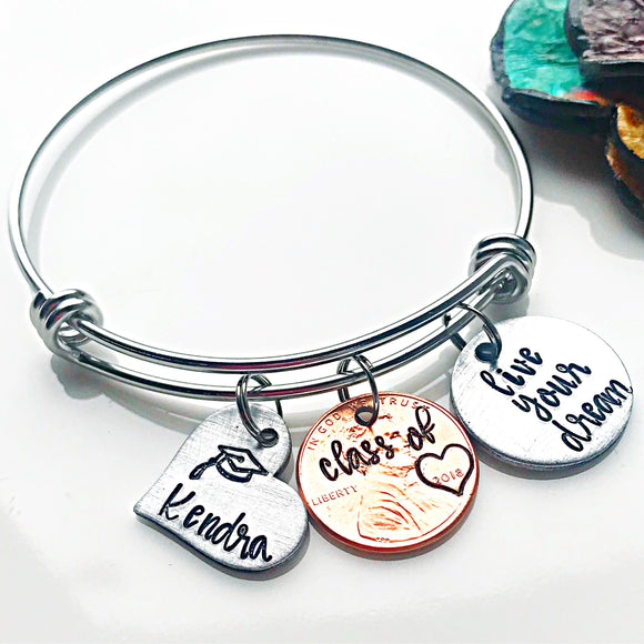 Graduation Penny Bracelet, Class of 2018, Graduation Gifts, Graduation Jewelry - Lasting Impressions CT