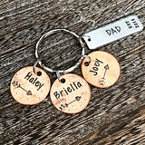Father's Day Keychain Gifts for Dad Personalized Penny Keychain, Hand Stamped Pennies, Children's Years Penny, Keychain for Parents and Grandparents - Lasting Impressions CT