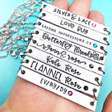 Your Business Name on a Hand Stamped Custom Bar Necklace - Personal Brand Necklace - Lasting Impressions CT