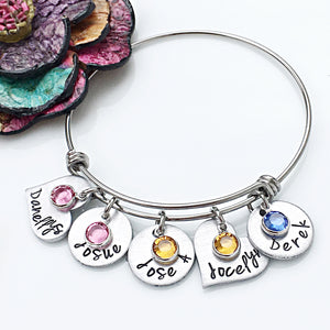 Personalized Name Bangle Bracelet-Mother's Day Gift for Mom
