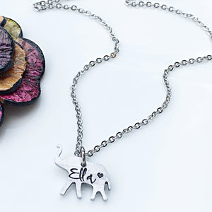 Personalized Hand Stamped Elephant Necklace-Gift for Mom