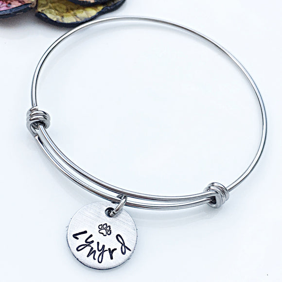 Personalized Dog Name Bangle Bracelet Hand Stamped