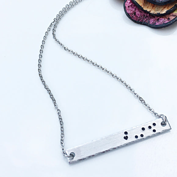 Hand Stamped Horizontal Bar Constellation Star Zodiac Sign Necklace - Lasting Impressions CT