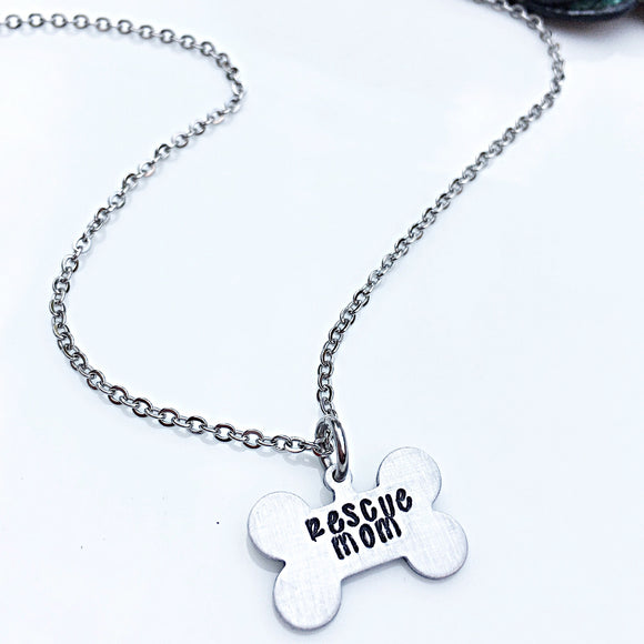 Rescue Mom Hand Stamped Dog and Animal Lover Necklace