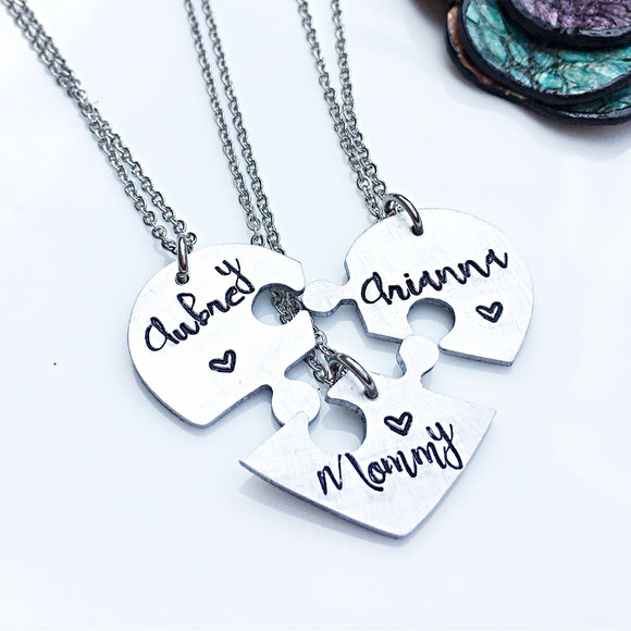 Three Piece Hand Stamped Personalized Heart Necklace for Mother and Daughters