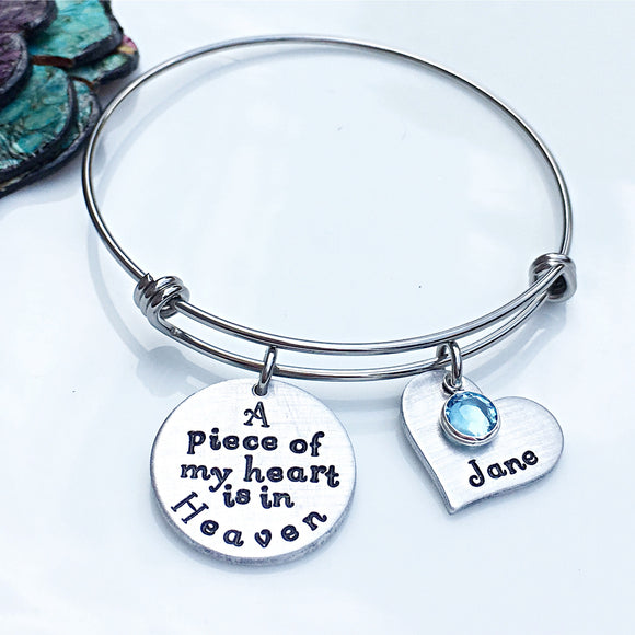 Personalized Memorial Bracelet-A Piece of My Heart is in Heaven