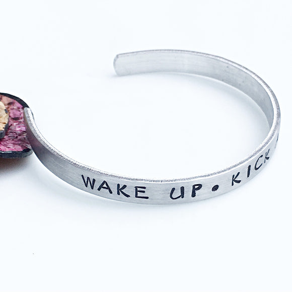 Wake Up Kick Ass Repeat Hand Stamped Cuff Bracelet