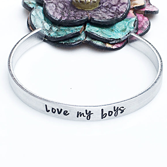 Love My Boys Hand Stamped Silver Cuff Bracelet - Lasting Impressions CT