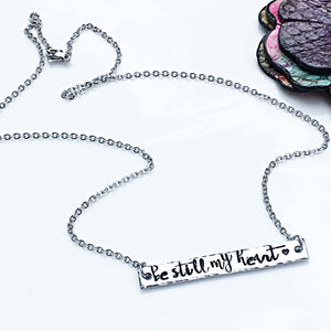 Hand Stamped Personalized Silver Horizontal Bar Necklace - Lasting Impressions CT
