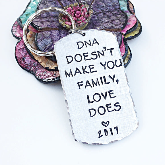 Step Parent Hand Stamped DNA Keychain