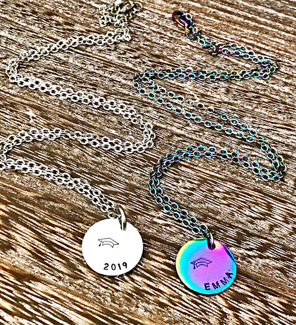 Stainless Steel Custom Graduation Necklace for Daughter, Friend, Girls, Class of 2019