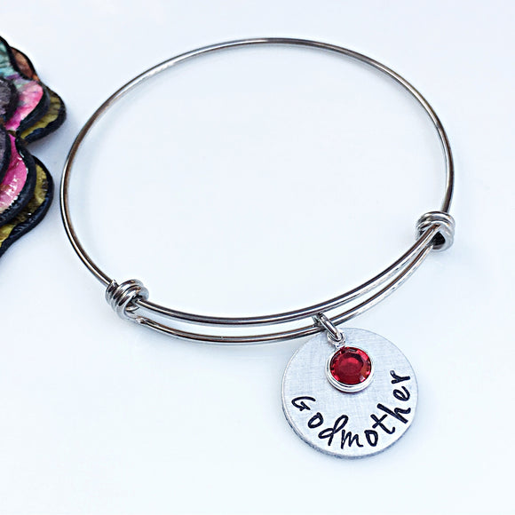 Hand Stamped Personalized Godmother Bracelet - Lasting Impressions CT