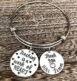 Teacher Bracelet, Gifts for Teachers, End of School Year, Teacher Appreciation, Charm Bangle Bracelet, Personalized - Lasting Impressions CT