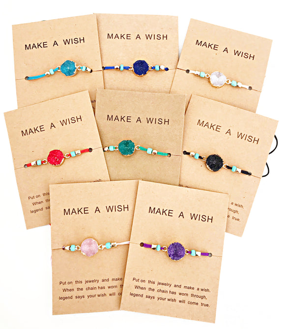 Make A Wish Adjustable String Druzy Bracelet - Lasting Impressions CT