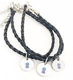 Awareness Ribbon Black Leather Bracelets - Alzheimer's, Miscarriage, Suicide, Cancer - Lasting Impressions CT