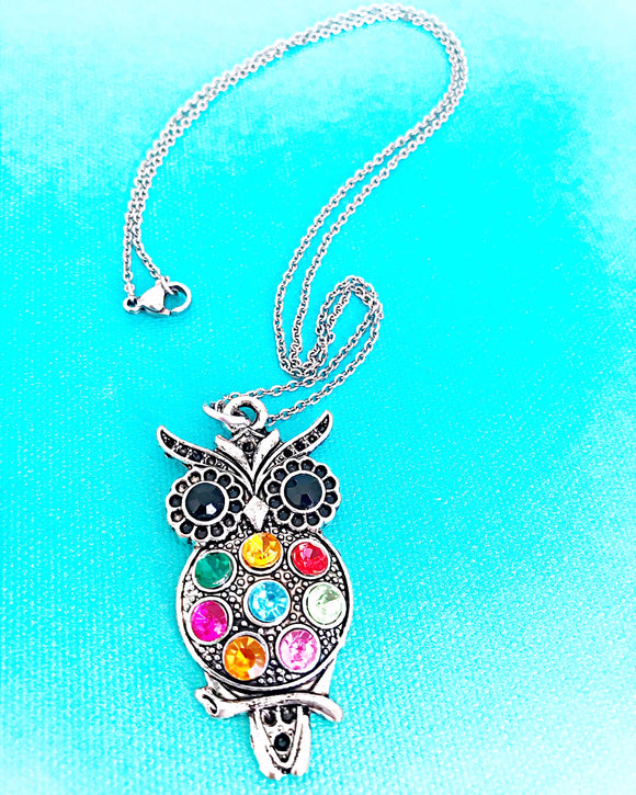 PREORDER--Colorful Beaded Owl Necklace - Lasting Impressions CT