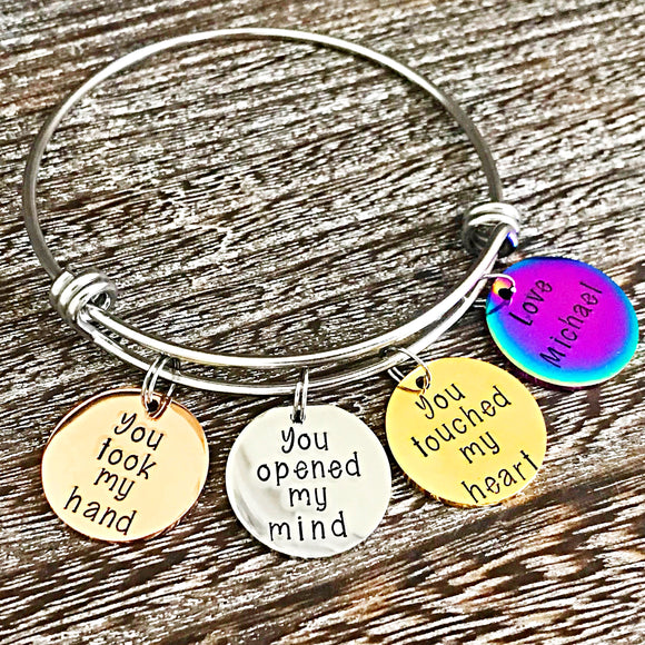 Special Teacher Bracelet - Handstamped Handmade Custom Teacher End of School Year Gifts - Lasting Impressions CT