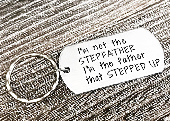 Father's Day Gift for Stepdad, Stepfather Keychain, Custom Stepfather Gift, Stepdad Birthday Gift, Adoption Gift - Lasting Impressions CT