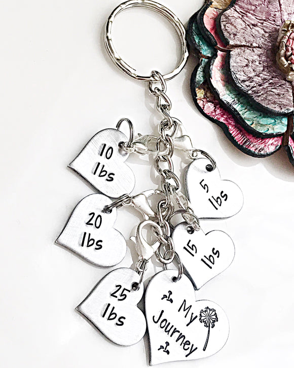 Weight Loss Tracker Handstamped Handmade Keychain, Weight Loss Gift, Weight Loss Charm Keychain