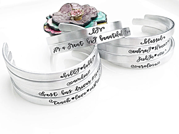 Personalized Name Cuff Bracelets, Mom Bracelet, Mother's Jewelry, Gifts for Her - Lasting Impressions CT