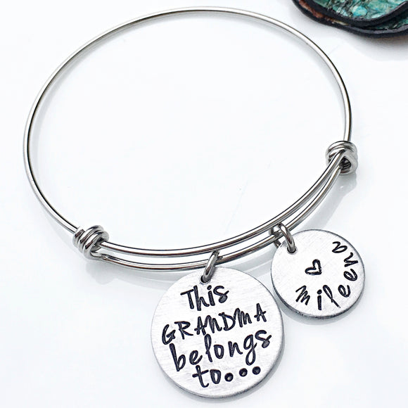 Personalized Bracelet for Grandma-Hand Stamped Mother's Day Gift for Grandma - Lasting Impressions CT