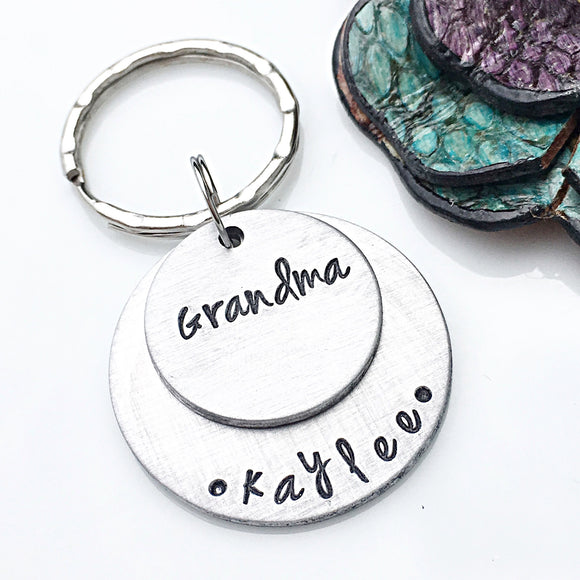 Personalized Hand Stamped Grandmother Gift-Keychain for Grandma