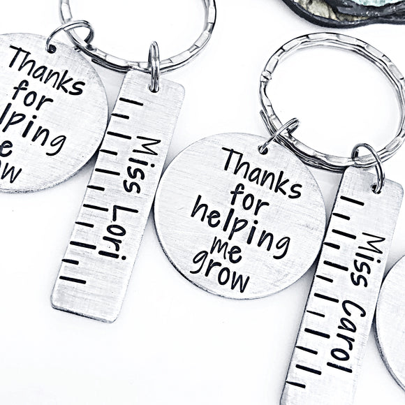 Teacher Ruler Keychain, Thanks for Helping Me Grow Keychain, Gift for Teacher, Elementary School Teacher, Preschool Teacher - Lasting Impressions CT