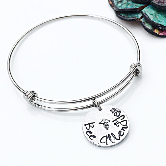 Medical Alert ID Bracelet-Hand Stamped Bee Allergy Bangle