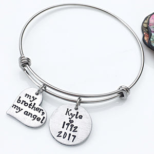 Personalized Brother Loss Bangle Bracelet-Loss of Loved One Memorial Gift