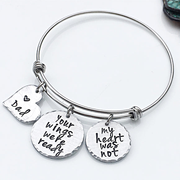 Parent Loss Personalized Hand Stamped Memorial Bracelet