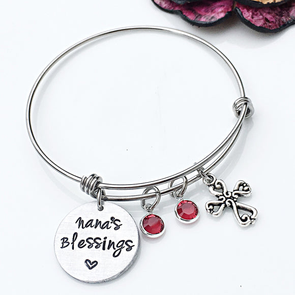 Nana's Blessings Hand Stamped Personalized Bangle Bracelet - Lasting Impressions CT